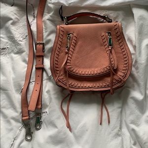Rebecca Minkoff Saddle bag: pink suede with strap